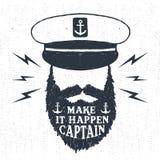 Ręka rysująca textured rocznik etykietkę z kapitanu wektoru ilustracją Fotografia Royalty Free