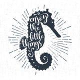 Ręka rysująca textured rocznik etykietkę z seahorse wektoru ilustracją Fotografia Royalty Free