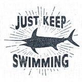 Ręka rysująca textured rocznik etykietkę z swordfish wektoru ilustracją Obraz Royalty Free