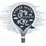 Ręka rysująca textured rocznik etykietka z gorące powietrze balonu wektoru ilustracją Zdjęcie Stock