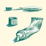 Ręka rysująca tubka pasta do zębów, nakrętka i toothbrash, ilustracji