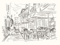 Ręka rysująca uliczna kawiarnia w starym miasteczku Rocznika wektoru ilustracja ilustracja wektor