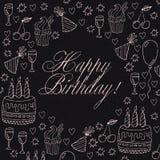 Ręka rysująca urodzinowa karta lub urodziny zaproszenie Obrazy Royalty Free