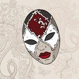 Ręka Rysująca Venecian karnawału maska. Obraz Stock