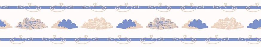 Ręka rysująca wektor chmury ilustracja Bezszwowa wielostrzałowa granica ilustracji