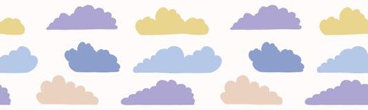 Ręka rysująca wektor chmury ilustracja Bezszwowa wielostrzałowa granica royalty ilustracja