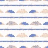 Ręka rysująca wektor chmury ilustracja deseniowy target668_0_ bezszwowy ilustracji