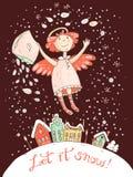 Ręka rysująca wektorowa bożych narodzeń i nowego roku karta z aniołem Zdjęcia Stock
