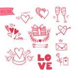 Ręka rysująca wektorowa ilustracja - kocham ciebie doodle ikony ustalony isol Obrazy Royalty Free