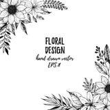 Ręka rysująca wektorowa ilustracja - Kwadratowa rama z kwiatami i l Obraz Royalty Free