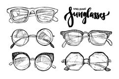 Ręka rysująca wektorowa ilustracja - okulary przeciwsłoneczni moda okulary przeciwsłoneczne royalty ilustracja