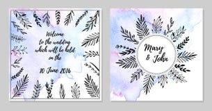 Ręka rysująca wektorowa ilustracja - Poślubiać zaproszenie kartę z wa ilustracji