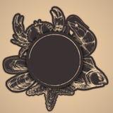 Ręka rysująca wektorowa karta i majchery Kolorowa dzika dennego życia ryba, rozgwiazda, krab, mussel, garnela ilustracja wektor