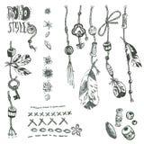 Ręka rysująca wektorowa kolekcja boho elementy: arkana, koraliki, wyczyn Zdjęcia Stock