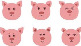 Ręka rysująca wektorowa sztuka świnia Dziewięć charakterów emocji: szczęśliwy, smucenie, złość, miłość, niespodzianka ilustracja wektor