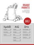 Ręka rysująca wektorowa ulotka - Organicznie produkty rynek produktów rolnictwa świeże warzywa Zdjęcia Stock