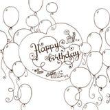 Ręka rysująca wszystkiego najlepszego z okazji urodzin doodle karta Zdjęcia Royalty Free