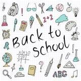 Ręka rysująca z powrotem szkół doodles blisko tła papier się również zwrócić corel ilustracji wektora Ręka rysunku szkoły rzeczy  ilustracji