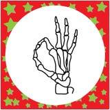 Ręka rysująca zredukowana ręka z OK znaka wektorowym ilustracyjnym isolat Obrazy Stock