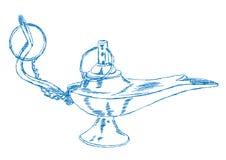 Ręka Rysującego Aladdin lampa - wektor ilustracji