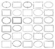 Ręka rysującego doodle round i kwadratowe wektorowe obrazek granicy ramy Obrazy Royalty Free