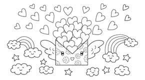 Ręka rysujący śliczny poczta list niesie udziały miłość latać, projekt dla, projekta elementu i kolorystyki książki strony dla dz Zdjęcia Royalty Free