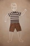 Ręka rysujący śmieszny charakter w przypadkowych ubraniach Obrazy Royalty Free