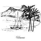 Ręka rysujący żagiel blisko wyspy Hawaje ilustracja wektor