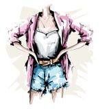 Ręka rysujący żeński ciało Moda strój Elegancki kobiety spojrzenie z skrótami, koszula, kurtką i akcesoriami, nakreślenie royalty ilustracja