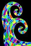 Ręka rysujący abstrakcjonistyczny obrazek dwa fala kształta ilustracja wektor