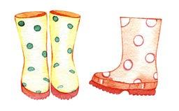 Ręka rysujący akwarela gumowi buty Ilustracja dla tworzyć zaproszenia, papierowi produkty, partyjne dekoracje, printable, powitan ilustracji