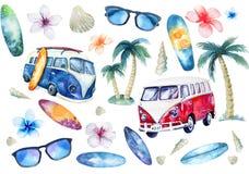 Ręka rysujący akwarela oceanu surfingu set Plażowy wakacyjny tropikalny royalty ilustracja