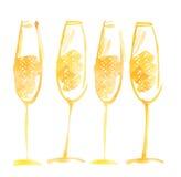 Ręka rysujący akwarela szampan Zdjęcia Stock