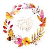 Ręka rysujący akwarela wianek liście, kwiaty, owoc i jagody lasu, Cześć spadek Jesień abstrakta gałąź Mapple Obraz Stock