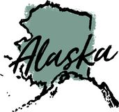 Ręka Rysujący Alaska stanu projekt royalty ilustracja