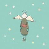 Ręka rysujący anioł z sercem Zdjęcie Royalty Free