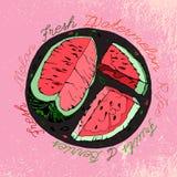 Ręka rysujący arbuz 03 A ilustracja wektor