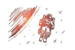Ręka rysujący astronauta unosi się w kosmosie royalty ilustracja