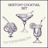 Ręka rysujący atramentu koktajlu szkicowy set również zwrócić corel ilustracji wektora Zdjęcia Royalty Free
