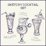 Ręka rysujący atramentu koktajlu szkicowy set również zwrócić corel ilustracji wektora Obrazy Stock