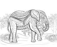 Ręka rysujący atramentu wzór Kolorystyki książka dla dorosłego Obrazy Stock