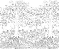 Ręka rysujący atramentu wzór Kolorystyki książka dla dorosłego Fotografia Royalty Free