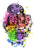 Ręka rysujący azjata buddyści zaludniają kreskówka atramentu wektor ilustracja wektor