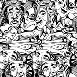 Ręka rysujący azjata buddyści zaludniają kreskówka wektorowego bezszwowego wzór ilustracji