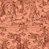 Ręka rysujący azjata buddyści zaludniają kreskówka wektorowego bezszwowego wzór ilustracja wektor