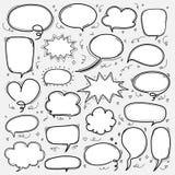 Ręka rysujący bąble ustawiający Doodle komiczki Stylowy balon, Chmurnieje Kształtnych projektów elementy Zdjęcie Stock