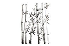 Ręka rysujący bambusów liście i gałąź set, atramentu obraz Tradycyjny suchy kaligraficzny szczotkarski obraz pojedynczy białe tło obrazy royalty free