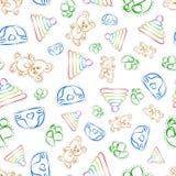 Ręka rysujący bezszwowy dzieciaka wzór Zdjęcia Royalty Free