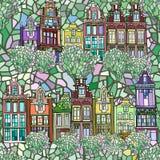 Ręka rysujący bezszwowy Holenderski miasto wzór Zdjęcia Royalty Free
