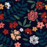 Ręka Rysujący Bezszwowy kwiatu wzór Obraz Stock